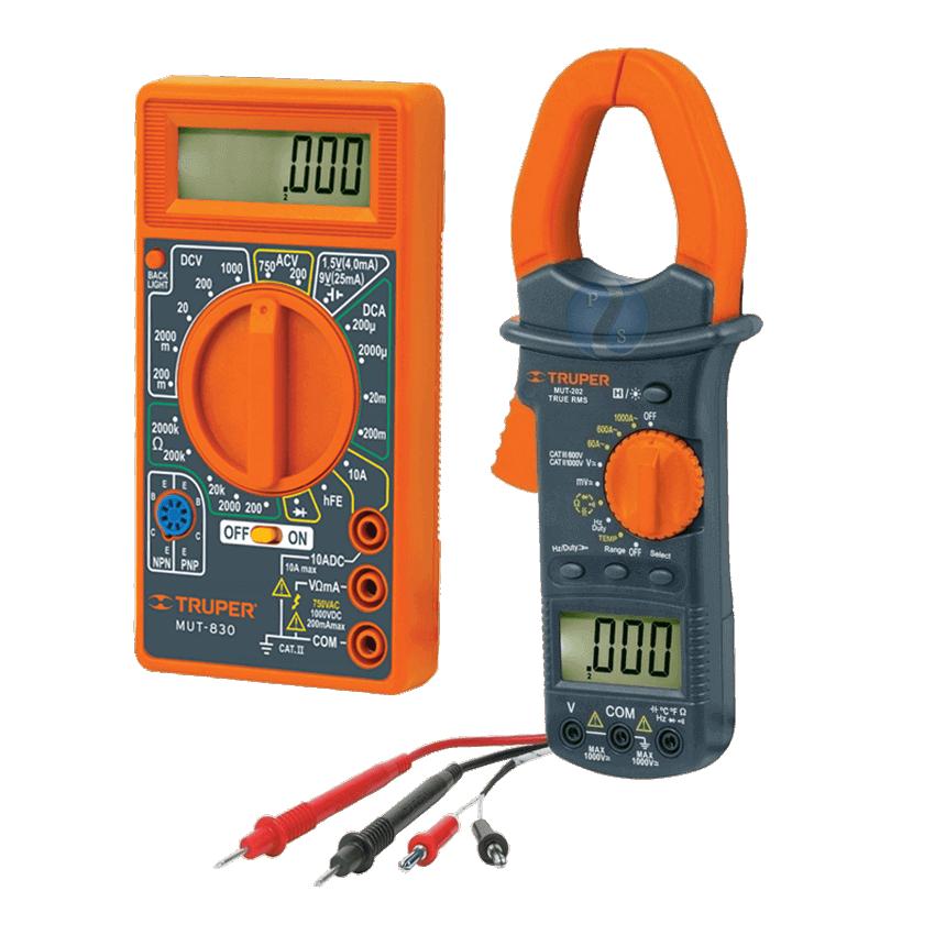 Instrumentos de prueba, para energía eléctrica y  presión de agua.